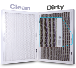 clean vs dirty air filters side by side