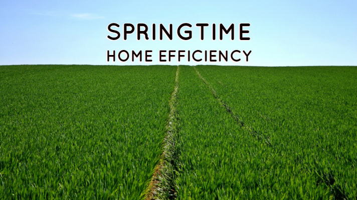 grass field with springtime home efficiency written above it