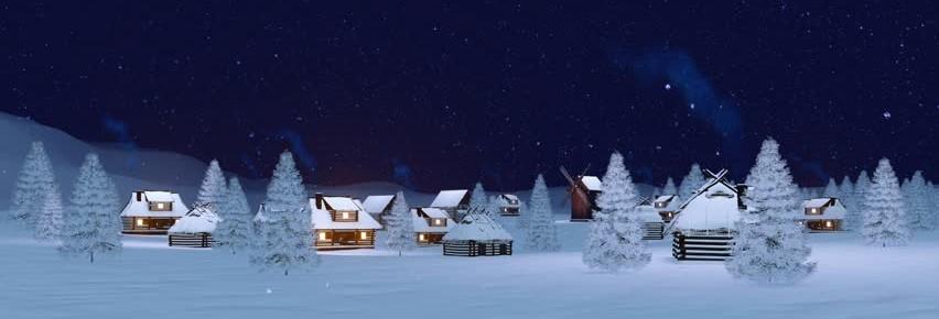 snowy home scene